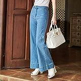 SHOESHAOGE Breite Beine Jeans Weiten Hosen Top Lende Von Licht Herbst Freizeitaktivitäten Bell-Bottoms Frauen Mäntel & Jacken, L, Blau
