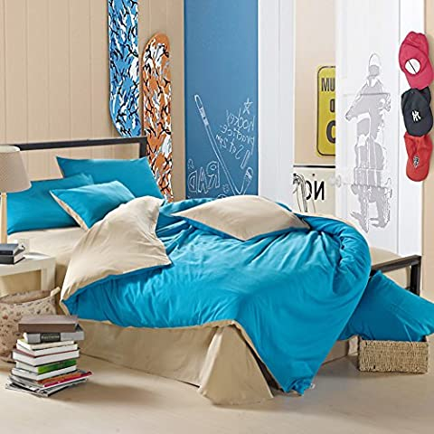 200TC European style Polyester Solid Pattern Duvet Cover Set 4