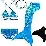 UrbanDesign Meerjungfrau Flosse Zum Schwimmen Flossen Für Mädchen Kinder Mit Bikini, 9-10 Jahre, Blauer Diamant