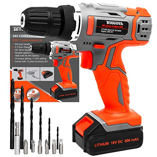 Terratek 13Pc Cordless Drill Driver 18V/20V-Max Lithium-Ion Combi Drill, Electric Screwdriver, Accessory Kit, LED Work Light, Quick Change Battery & Charger Included (18V Cordless Drill & 13pc Kit)