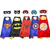 koobea 5 Pezzi Costumi Supereroi per Bambini - Regali di compleanno - Costumi Carnevale Mantelli e Maschere Giocattoli per Bambini e Bambine