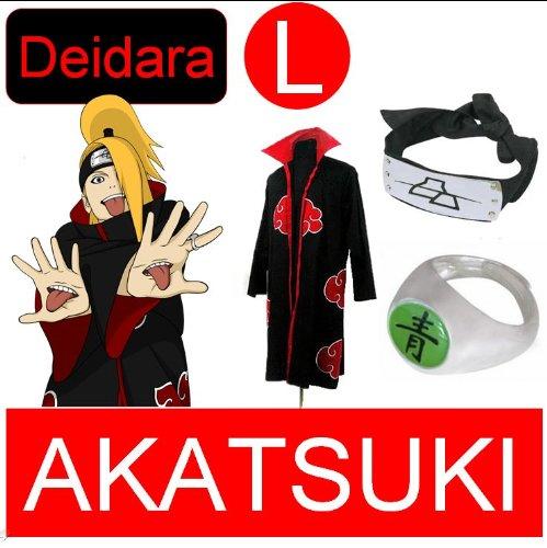 Naruto Cosplay Set für Deidara - Akatsuki mantel (L) + Akatsuki Deidara Ring + Deidara Kopfband