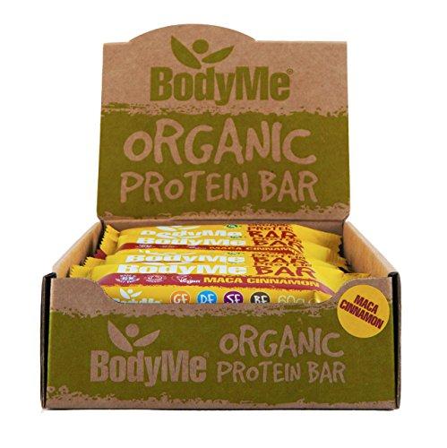 BodyMe Barrette Proteiche Vegane Biologiche Cruda Maca Cannella 12 x 60g Con 3 Proteines Vegetali