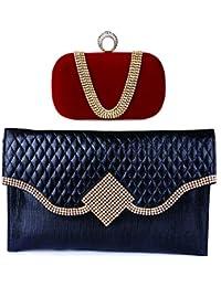 Kleio Combo Of Designer Party Velvet Clutch & Stone Studded Sling Clutch