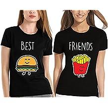 Best Friends T shirt Pour 2 fille impression impression des hamburgers et des frites intéressant femmes à manches courtes par JWBBU®
