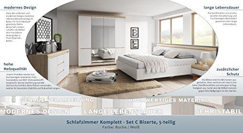 Schlafzimmer Komplett – Set C Bizerte, 5-teilig, Farbe: Buche/Weiß