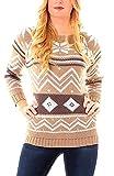 Damen Norweger Winter Grobstrick Pullover Rundhals Mehrfarbig One Size Camel