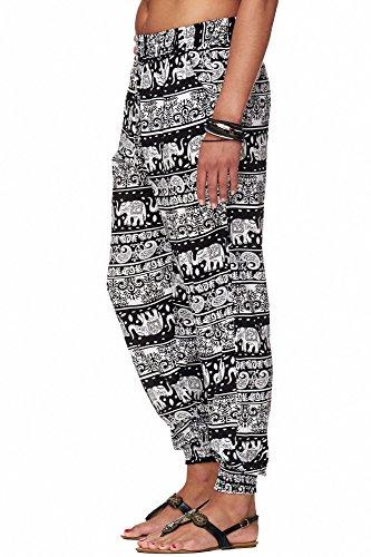 Damen Sommerhose (M/L, große Elefanten Schwarz)