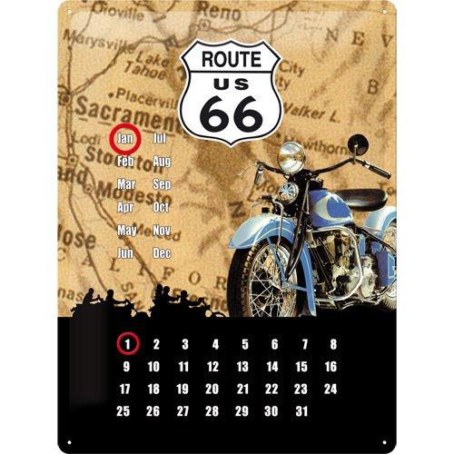 Nostalgic Art - Placa decorativa, diseo con calendario y texto \Route US 66\