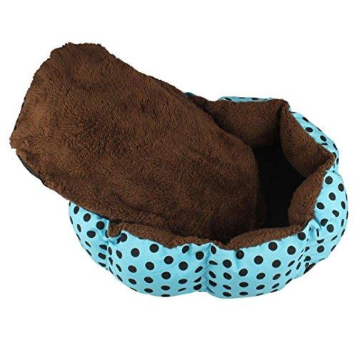 Sannysis Weiches Fleece Hund Welpen Katze-Bett-Haus-Plüsch Cozy Nest-Matten-Auflage-blau - 2