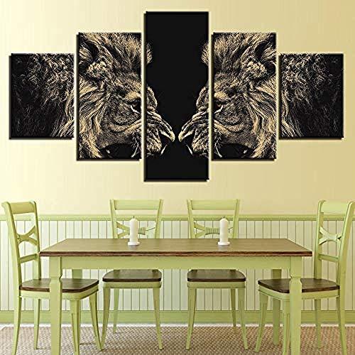FSKJWLH Wohnkultur Wandkunst Leinwandbilder Für Wohnzimmer 5 Stücke Roaring Lions Spiegel Malerei Modulare Hd Drucke Tier Poster-Gerahmte @ 30x40_30x60_30x80 cm-rahmenlose
