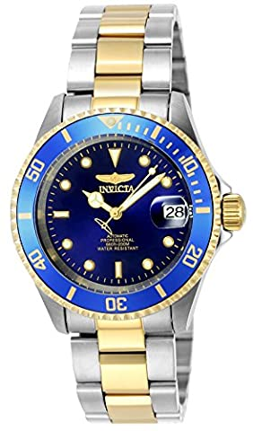 Invicta Unisex Pro Diver Automatic Watch with Blue Dial Analogue Display and Multicolour Gold Plated Bracelet 8928OB