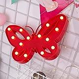 Luce LED, Mamum farfalla alfabeto luci LED light up bianco plastica lettere in piedi da appendere, rosso/rosa/blu/bianco taglia unica Red