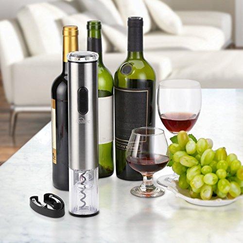 Elektrischer Korkenzieher, Kealive Weinöffner Flaschenöffner mit Freien Folienschneider für Weinflaschen Korkenheber Set ohne Batterien Edelstahl Silber