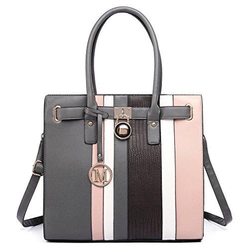 Miss Lulu Schultertasche Aktentasche Damen PU Leder Shopper Handtasche Umhängetasche Tote Bag 34 X 33 X 11 (LT6620 Grau)