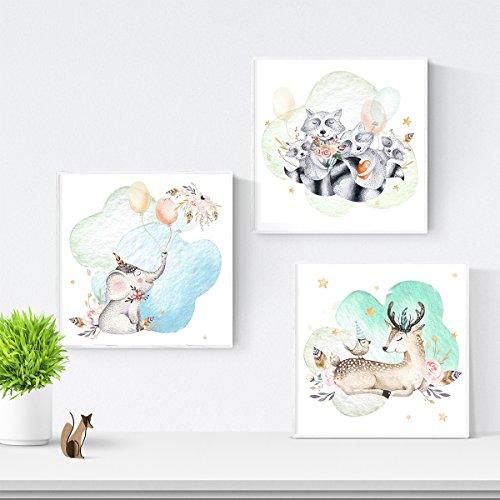 Nacnic Set de 3 láminas para enmarcar Elefante, Cervatillo Y MAPACHES Posters...