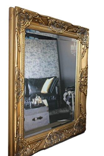 elbmöbel 37x47x3,5cm rechteckiger Wand-Spiegel, handgefertigter Vintage-Antik-Rahmen aus Holz, gold, inkl. Befestigung