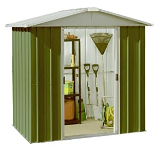 51H4A0ga42L. SS300  - Yardmaster 6 x 6 ft Deluxe Apex Roofed Metal Shed - Green