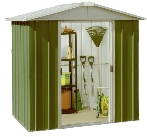 Yardmaster 6 X 6 Ft Deluxe Apex Roofed Metal Shed Grey