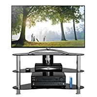 1home Black Glass TV Stand for LCD LED Plasma 3D