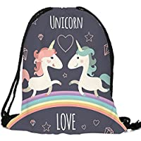 AIZESI Unisex Unicorn Prints Women Girls Drawstring Backpack Shoulder Bag Shopping Bags