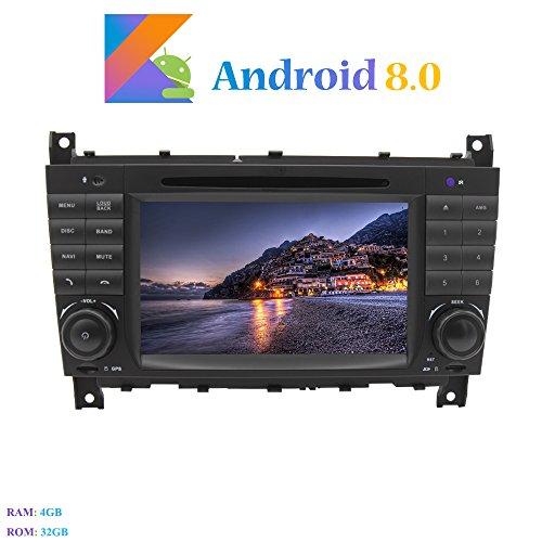 Android 8.0 Autoradio, Hi-azul 2 DIN 8-Core RAM 4G ROM 32G Radio de Coche 7' Navegación GPS De Coche In-Dash Auto Radio Estereo para Mercedes-Benz C Class W203/ CLK W2099 (Autoradio)