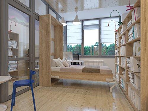 Hochkantbett Schrankbett Smartbett mit Matratze Foldaway bed 90 x 200 cm Vertikal Eiche Sonoma - 4
