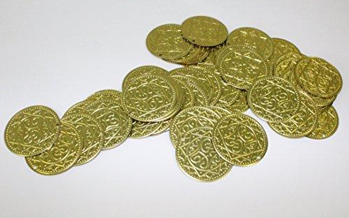 50 Metallmünzen für Bauchtanz-Kostüm, Dekoration, Schmuck, Piraten-Schatz, Piraten-Gold, Bastelbedarf