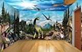 Fototapete Vlies Tapete 3D Wallpaper Wanddeko Design Moderne Anpassbare Wandbilder Dinosaurier Kam Aus Dem Haus Hintergrund Mauer