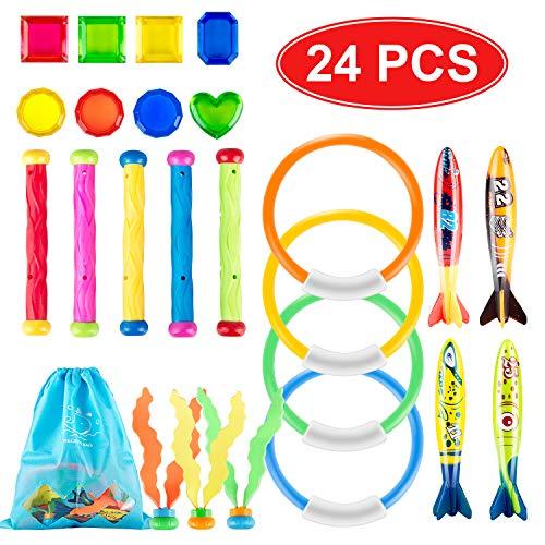 Tauchen Spielzeug 24 Pcs, Tauch Pool Unterwasser Schwimmbad Spielzeug 4 Stück Ringe, 5 StkTauchstöcke, 4 STK Torpedos Banditen, 8 STK Tauch Edelsteine, 3 STK Tauchalgen, Tragetasche -