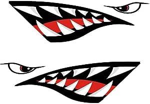 Nakelucy Auto Aufkleber Roter Hai Mund Zähne Diy Lustige Rudern Kajak Boot Zubehör Mund Aufkleber Vinyl Aufkleber Aufkleber Für Aufkleber Links Rechts 2 Stücke Küche Haushalt
