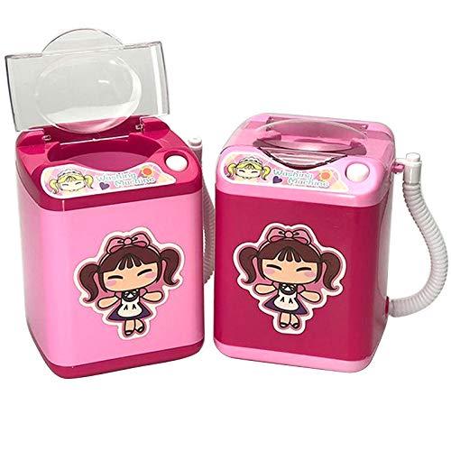 ZHUOHONG Mini-Waschmaschine, Kinderspielzeug, Mini-Waschmaschine, Make-up-Pinsel, Simulator, Waschmaschine Pink/Red Random (B) No Dehydration