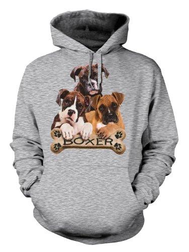 Boxer Hunde Rassen Motiv Kapuzensweater : boxers with bone -- Boxer Hoddie Gr: L Farbe grau