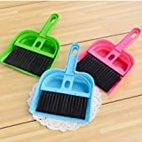 Ngel Plastic Mini Table Shovel with Brush/Multipurpose Mini Dustpan Supdi with Brush Broom Set for Cleaning Laptops, Keyboards, Dining Table, Car Seats, Carpets Color May Very (Pack of 1)
