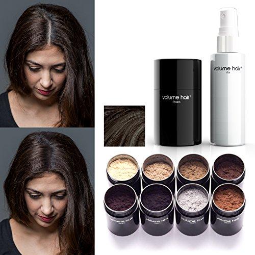 VOLUME HAIR Fibers & Fix-Spray - dunkelbraun | Schütthaar & Volumen Spray zur Haarverdichtung. Sofort mehr Volumen, dichteres und volleres Haar.