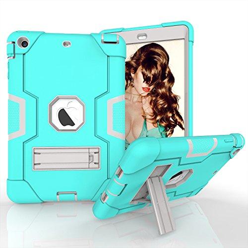 Yoomer Schutzhülle für iPad Mini 2, iPad Mini 3, dreilagiges Silikon + Harte PC Bumper Armor Defender strapazierfähig stoßfest robust Hybrid Schutzhülle mit Ständer für iPad Mini 1/2/3, Aqua+Grey