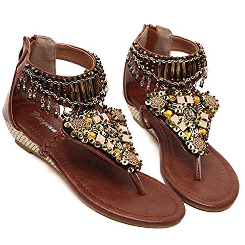 Oasap Women's Bohemian Wedge Heels Back Zip Beads Thong Sandals Brown