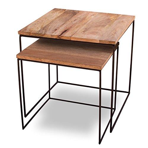 e tisch mango Kaloogo Beistelltisch 2er Set Mango Cubes - Design-Tische 44x44cm - B-Ware