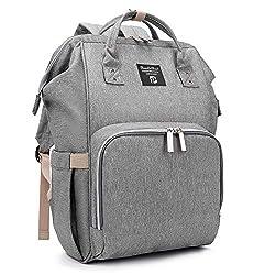 Baby Wickelrucksack Wickeltasche mit Wickelunterlage Multifunktional Oxford Große Kapazität Babyrucksack Kein Formaldehyd Reiserucksack für Unterwegs (Grau)