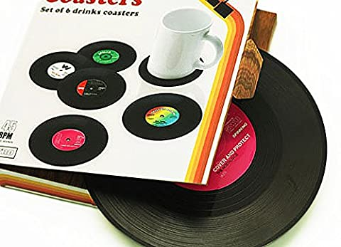 Janazala Vintage Vinyl Record Table Coasters For Drinks, Including Zipper Bottle Opener. For Wine Glasses, Beer, Whiskey, Hot and Cold Drinks, Set of