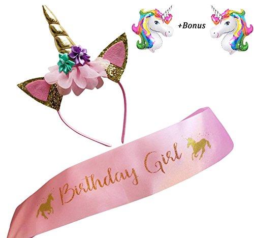 RESHOW Einhorn Geburtstag Mädchen Set Gold Glitter Einhorn Stirnband und rosa Satin Schärpe für Mädchen, alles Gute zum Geburtstag Einhorn Party Supplies, Gefälligkeiten und Dekorationen