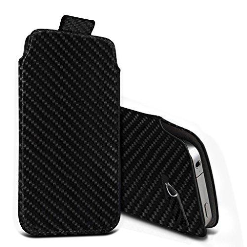 Preisvergleich Produktbild (Black Carbon 155,6 x 72,1 mm) Pouch Tasche für Motorola Moto X4 Fall Carbon-Effekt-Qualitäts-Pull Tab-Schlag-Beutel-Haut, Fallabdeckung Motorola Moto X4 Fall von i-Tronixs