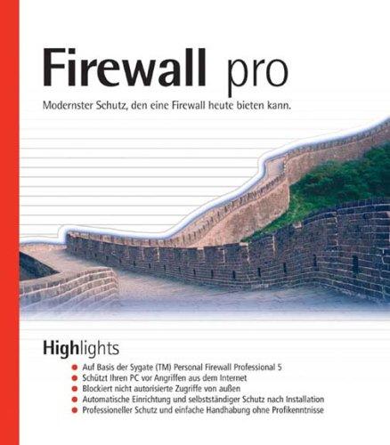 Firewall pro, 1 CD-ROMModernster Schutz, den eine Firewall heute bieten kann. Auf Basis der Sygate Personal Firewall Professional 5. Für Windows 98(SE)/ME/2000 SP1/NT 4.0 SP6a/XP