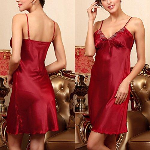 Zhhlinyuan Sexy Women's Silk Nightgown Deep-V Lingerie Satin Nightdress DQ113 Wine Red