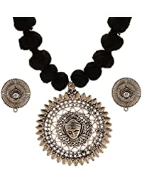 Tandra's Fashion Oxidised Or German Silver Temple Necklace Set For Women And Girls