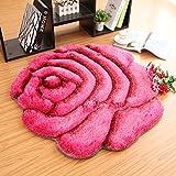 3D Rose Schlafzimmer Rutschfest Teppich Weich Nachttisch Umweltschutz Runden Teppich Wohnzimmer Tee Tischset Haushalt Computer Stuhl Pad von RLF.LF,B,90 * 90Cm