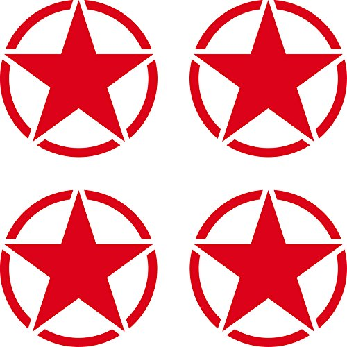 4 Stück US Sterne 5cm rot USA US Army Schriftzug MP Auto Jeep Tuning Aufkleber Tattoo die cut Deko Folie