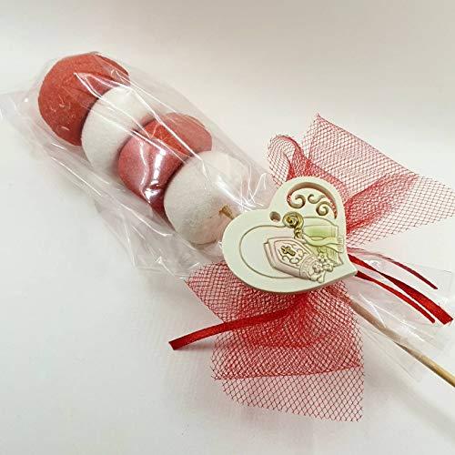 Segnaposto originali spiedino marshmallow cresima bomboniere economiche (spiedino con cuore appendino mitria e vangelo)