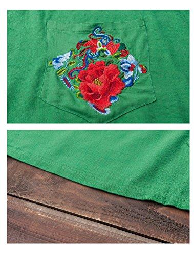 Vogstyle Donna Camicia Estiva Bluse Di Vari Clori Style 3-Green