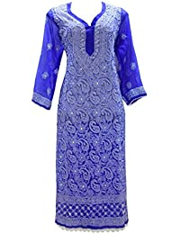 82d2146fdeb40 Lucknowi Chikankaari Blue Georgette Kurta Jaal Work with silk thread Hand  embroidery made by INDIAN HANDICRAFT